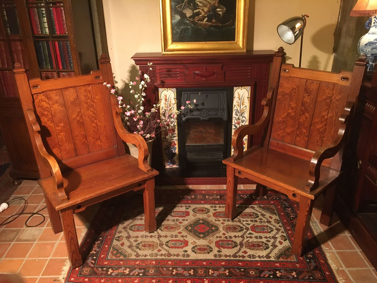 Pair Pitch Pine Masonic Stoelen c.1900 €445